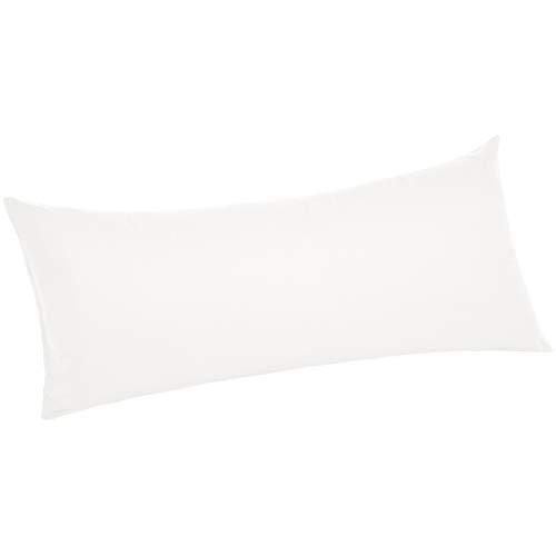 AmazonBasics Ultra-Soft Cotton Pillow Case - Body Pillow, 55 x 21 Inch, White