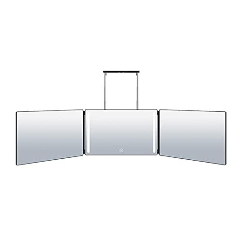 POHOVE Espejo triple de 3 vías 360° auto Cu t espejo con luces triple espejo de maquillaje plegable triple espejo de tocador con altura telescópica para auto estilo y corte de pelo