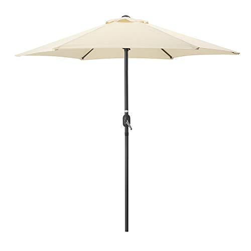 Photo of CHRISTOW Garden Parasol Umbrella 2.4m, Steel With Crank Handle, Compact Sun Shade For Outdoor Patio Spaces, Grey, Navy, Black, Cream, Green