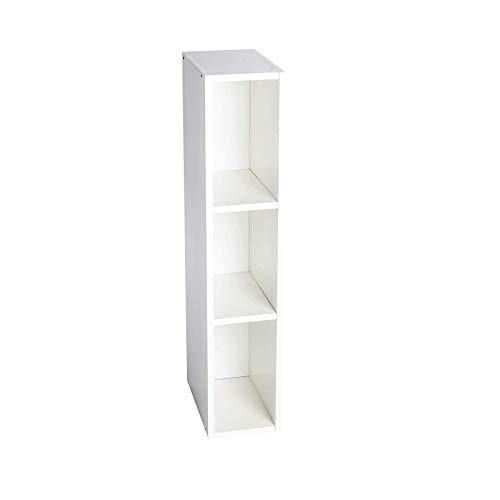 Puckdaddy Stauraumregal Lasse – 19x30x93 cm, Stand-Regal aus Holz in Weiß passend zu IKEA Hemnes Kommode, Fächerregal für Wickelkommoden, Wickeltisch-Regal zur Kinderzimmer-Aufbewahrung