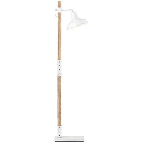 BRILLIANT lamp Hank vloerlamp 1 licht hout licht/wit glanzend |1x A60, E27, 60W, geschikt voor standaardlampen (niet inbegrepen) |Schaal A ++ tot E |Draaibare kop