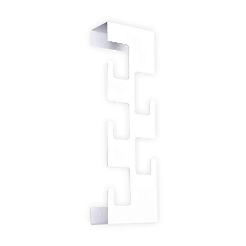 SemuUp | Perchero de pared vertical de metal | 5 ganchos | negro, blanco, gris colores disponibles (blanco)