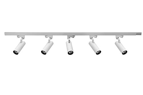 UPO Track Lighting Kit 5-LED Light with Super Bright 1500 Lumens Adjustable Track Head Easy Installation, LED Bulbs Included, White