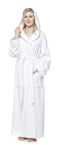 Arus Bademantel-Pacific für Damen und Herren mit Kapuze, extra lang, 100% Baumwolle Frottee, Hausmantel, Morgenmantel, Saunamantel, Größe: XL, Farbe: Weiß