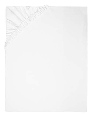 ZOLLNER Spannbettlaken, 100x200 cm, 100% Baumwolle, 180g/qm, Steg 20 cm, Weiß