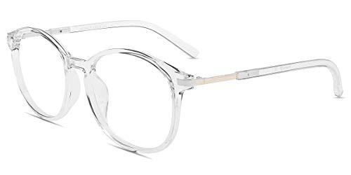 Firmoo Round Blue Light Blocking Glasses Unisex, Reduce Headache Anti Eyestrain Cut UV400, Vintage Computer Glasses for Digital Devices, Non-prescription Clear Blue Light Blocker Eyewear