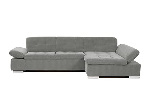 Honeypot Malvi Corner Sofa Bed with storage All Grey Right Hand