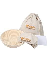 4-In-1 Set of Banneton Bread Proofing Basket (10 Inch) + Liner + Scraper + Linen Bag - Round Brotform Proofing Basket/Banetton Brotform Bowl - Best for Artisan Bread Making Sourdough, Rye & Others