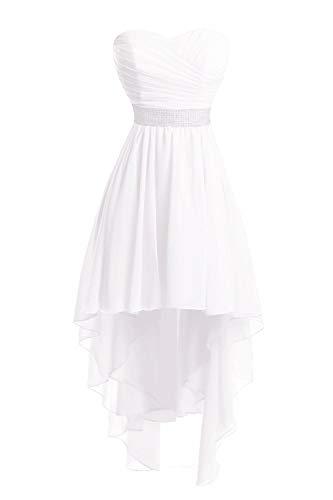 JAEDEN Ballkleider Damen Brautjungfernkleid Hochzeit Partykleid Herzausschnitt Abendkleid Vorne Kurz Hinten Lang Weiß EUR44