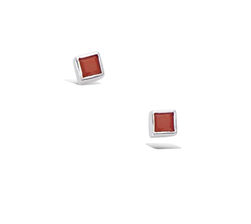 Tata Gisèle  Kaibito Earrings in Rhodium-Plated Sterling Silver and Coral Red Stones - Square 3 mm - Free Velvet Gift Bag