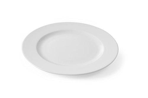 HENDI Teller, Flach, Verstärkte Kanten, hochwertige Glasur, Hohe Schlag- und Verschleißfestigkeit, geeignet für Mikrowelle, Geschirrspüler, ø200mm, Weiß Porzellan