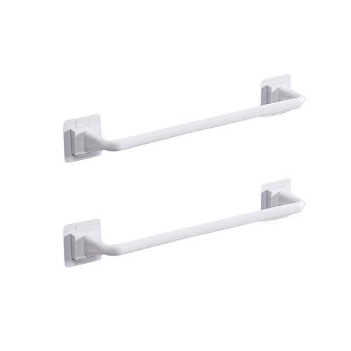 Liitrton Self Adhesive Towel Bar No Drill Hand Towel Hanger for Bathroom and Kitchen Towel Storage Self (L, White) Illinois