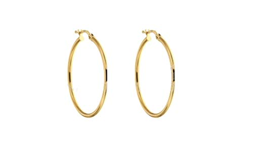 Hoop Earrings in Yellow Gold 18 Kt thickness 2 mm Diametro 30 mm.