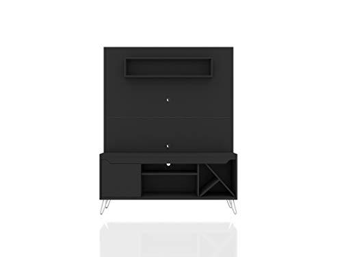 "Manhattan Comfort Baxter Modern Five Shelves Free Standing Entertainment Center with Sectional Wine Rack, 53.54"", Black"
