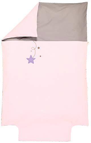 P'tit Basile - Housse de couette brodée bébé - enfant - pour couette 100x135 ou 100x140 cm - Coton biologique de qualité supérieure, 57 fils/cm2, Tissage serré pour plus de douceur - Collection Pluie d'étoiles - Coloris rose - avec bouteille pour border votre enfant