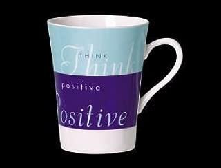Menagerie Philosophy Think Positive & Metallic Lustre Bone China Mug Made In Stoke On Trent England Blue & Turquoise