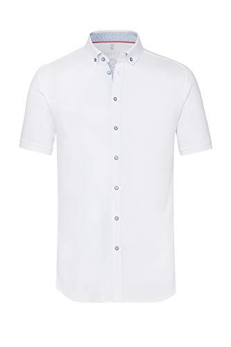 DESOTO Herren Kurzarmhemd aus mercerisierter Baumwolle - BÜGELFREI - White 001, Gr. S (37/38)