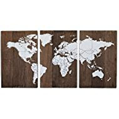Elegant Signs Large Wood World Map 3 Panel Travel Pin Map
