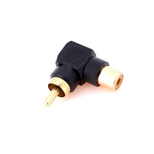 FYYONG 1/2 PCS 90 Grados RCA Conector de ángulo Recto Adaptadores de enchufes Macho a Hembra M/F Audio de 90 Grados Adaptador de Audio (Color : Black)