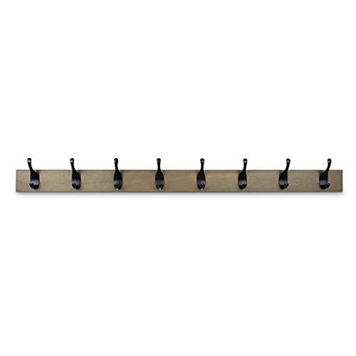 Amazon Basics - Perchero de madera de pared, 8 ganchos modernos 92 cm, Madera noble
