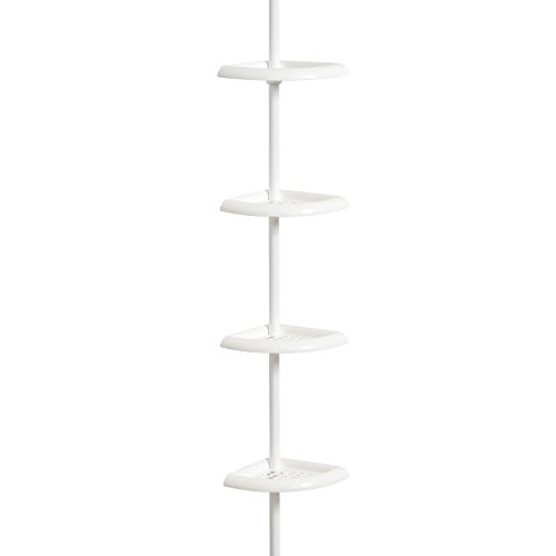 Zenna Home 2104W Bathtub and Shower Tension Corner Caddy, 10.5 x 97-Inches, White