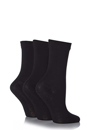 SockShop Damen 3 Paar Bambussocken mit Komfortbündchen - Schwarz