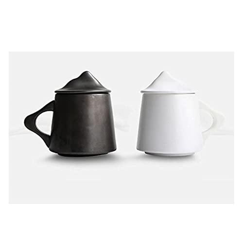 Drankmokken Koffiemok, Keramische mok met deksel Eenvoudige handgemaakte bloem Theekop Keramisch paar geschenk Waterkopjes Koffiekopje Wit Zwart koffiekopjes