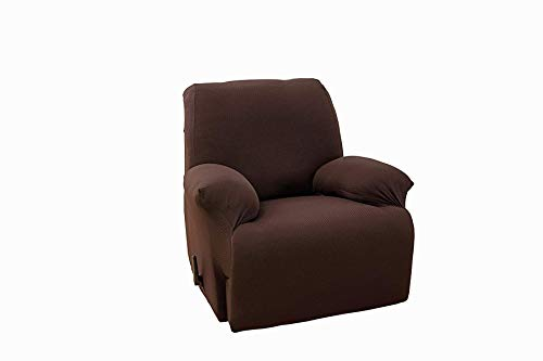 One Piece Stretch Recliner Slipcover Chair Recliner Cover Lazy Boy Slipcover Stretch Fit Furniture, Sonia (Coffee) -  TT LINENS