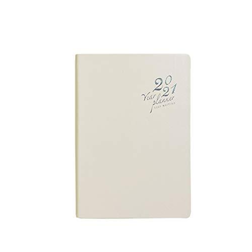 ZYM Cuaderno CláSico 2021 Calendario del planificador - Planificador de la Agenda mensual y Anual semanal de Cuero de la PU Fine PU 5.6'x 8.1' Vintage Libreta (Color : Light Pink, tamaño : A5)
