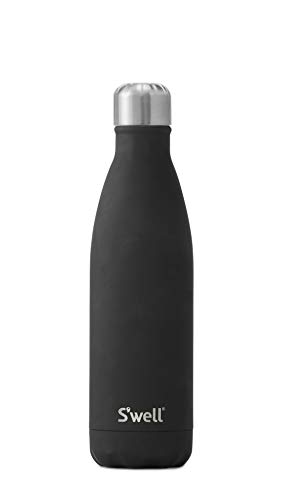 S'well 10017-B19-34901 Stainless Steel Water Bottle, 17oz, Soft Touch Black