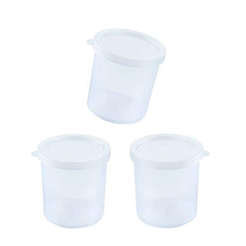 Lot de 3 gobelets ronds en plastique avec couvercle pour échantillons de remise en forme 250 ml En polypropylène Pour échantillons de réinitialisation