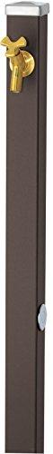 ユニソン(UNISON) 立水栓 スプレスタンド60 左右仕様 マットブラウン 蛇口1個セット ゴールド 600531210 幅6.4×高さ80(110)×奥行6.4cm 取扱説明書、プレーンフォーセット フラワー(泡沫・ホース用アダプター付)、止水プラグ