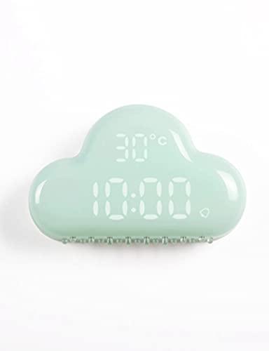 Reloj Despertador para niños, Linda Nube LED Temperatura Portátil Silent Night Light Reloj de Alarma, para Dormitorio, Estudio, Niños Adultos (Color : Blue)