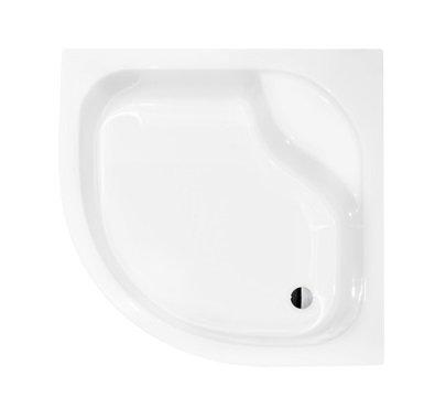 VBChome Acryl-Duschwanne Duschtasse Sitz 90 x 90 cm Viertelkreis DIPER I ohne Schürze tief R55 + Ablaufgarnitur Viega AP50 Eckduschwanne befliesbar