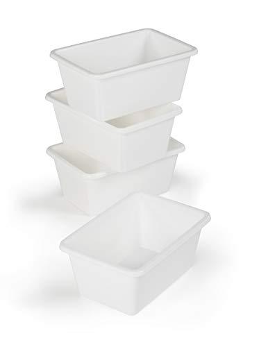 Humble Crew White Small Plastic Storage Bins Set of 4