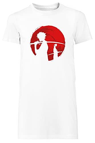 Samurai Puesta de Sol Camiseta Mujer Largo Vestir Blanco T-Shirt Women's Long Dress White