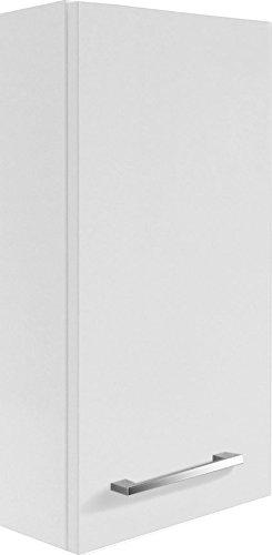 FACKELMANN Hängeschrank Rondo/Badschrank mit gedämpften Scharnieren/Maße (B x H x T): ca. 35 x 68 x 16 cm/hochwertiges Möbelstück/Türanschlag Links/Korpus: Weiß Glanz/Front: Weiß Hochglanz