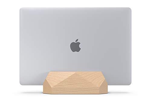 NUOV Vertical Laptop Stand for Desk, Adjustable Vertical Laptop Holder, Natural Wood Desktop Dock for Apple MacBook pro, Surface, Lenovo, Dell and More (up to 17.3 inches)