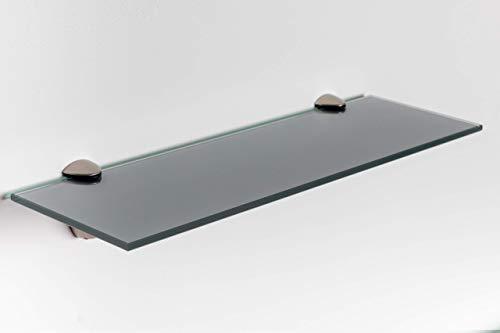Elisando Glasregal grau 40 x 20 cm   6 mm stark   Wandregal mit Halterung   Glasablage...