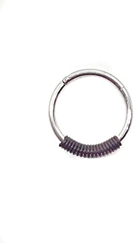 Eclectic Shop Uk Body Piercing Ring Clicker Staal Zwart Lente scharnierend Segment Hoop 18G 1mm