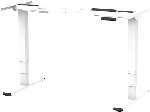 SANODESK EQ Höhenverstellbarer Schreibtisch Elektrisch höhenverstellbares Tischgestell 2 Motoren Plus 3-Fach-Teleskop, mit Memory-Steuerung (Weiß)