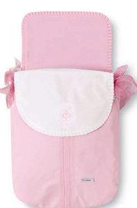 Bimbi Elite - Colcha capazo, blanco y rosa