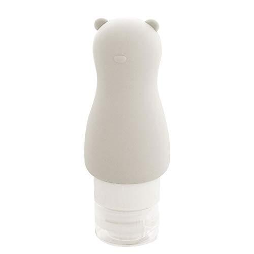 HJKGSVdv Flacon de voyage en silicone anti-fuite pour produits cosmétiques - Flacon de rangement souple et portable pour shampooing, crème solaire, gel douche, ours gris clair