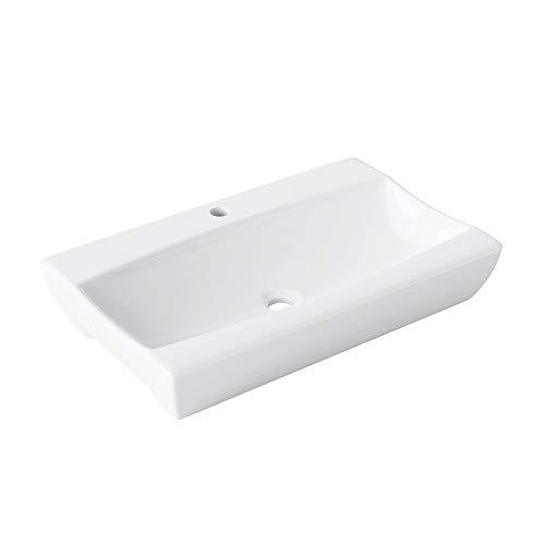 BTH: 48x32x10,5cm Design-Aufsatzwaschbecken inkl. Nano-Beschichtung aus Keramik | Hand-Waschbecken/Waschtisch