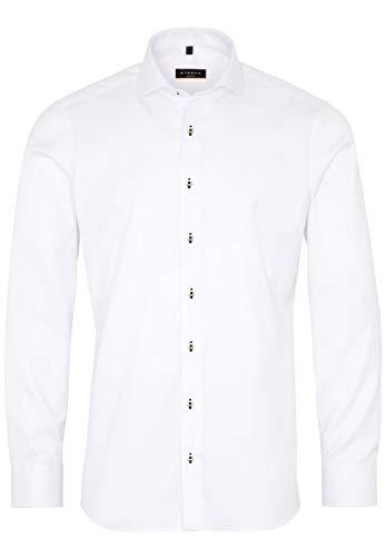 eterna Herren Hemd Slim FIT Baumwolle Business (41, weiß blk)