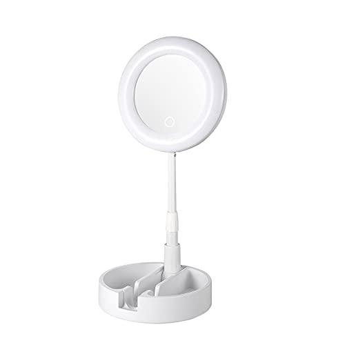 Espejo de Maquillaje Escritorio LED Multifunción Varilla Telescópica Vidrio Rotación 135 Grados Pantalla Táctil para Casa