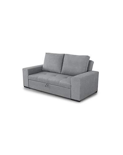 SWEET SOFA® Sofá Cama VIELLA, 3 plazas, Convertible en chaiselongue o Cama, Asiento Deslizante en Tela Antimanchas Color Gris