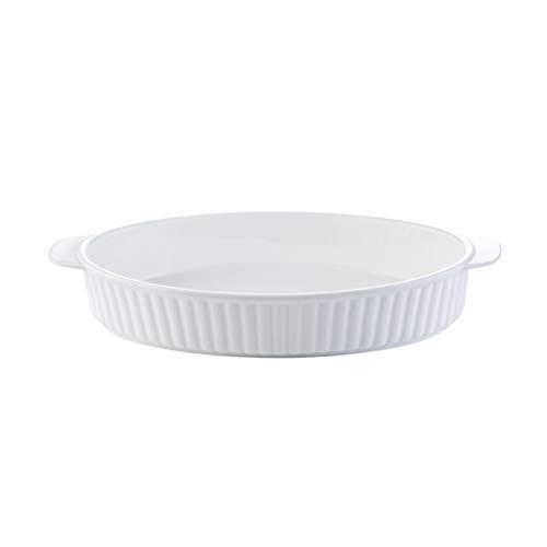 Plat de cuisson ovale en grès, plat de cuisson en céramique, plat à four Lasagne, plat à poisson, plat à rôtir, blanc (Taille : 12 inches)