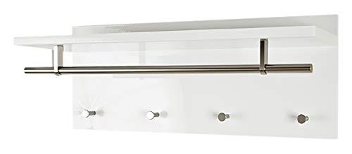 HAKU Möbel Wandgarderobe- MDF Dekor hochglanz weiß- mit Hutablage Breite 75 cm