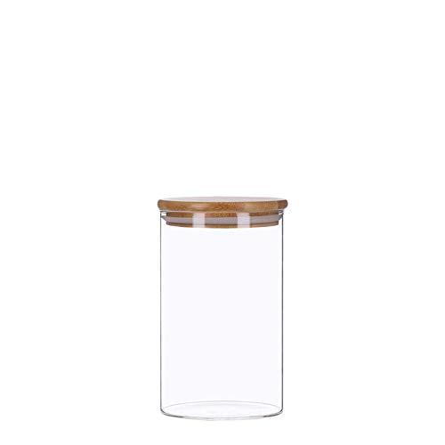 Vorratsdosen aus Glas mit Bambusdeckel, Vorratsgläser, Glasbehälter | 350 ml - 2200 ml | luftdicht, Spülmaschinenfest, Mottensicher (1000 ml)